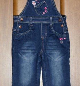 Утепленный джинсовый комбинезон