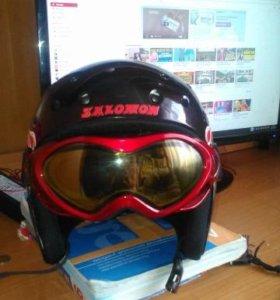 шлем salomon с очками