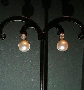 Серьги серебро жемчуг