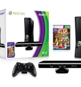 Xbox 360 slim +Kinect,hdd 250,2 джойстика в о/с