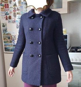 Шерстяное теплое синее пальто