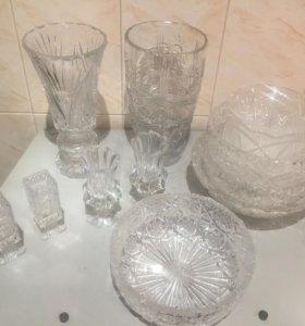 Набор хрустальных ваз и фруктниц