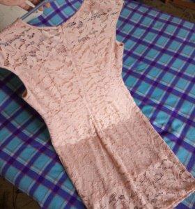 Платье персиковое. Можно и беременным