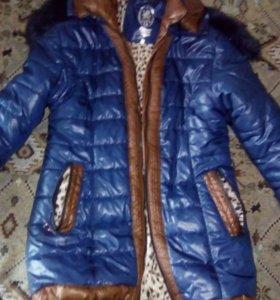 Удлиненная куртка , цвет темно-синий