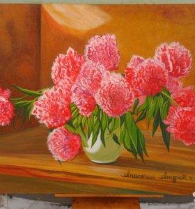 Пионы, цветы, масло, холст