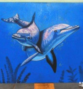 Большая картина, дельфины, масло