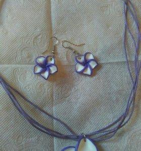 Комплект для девочек колье с кулоном и сережки