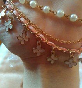 Браслет,, Райский цветок,,с жемчугом...