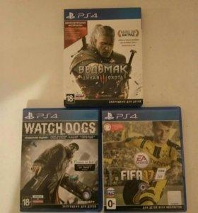 Ведьмак 3 (дикая охота), FIFA17, Watch Dogs.