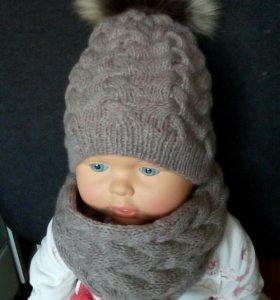 Комплект шапка+снуд, новый.