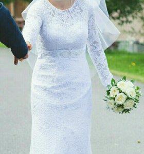 Красивое кружевное свадебное платье!
