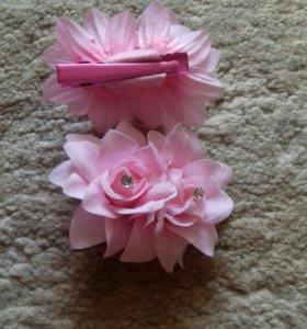 Заколки-цветы из ткани