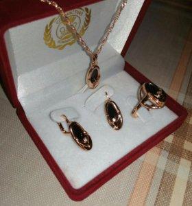 Набор,Серьги кольцо цепочка кулон