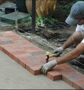 Укладка тротуарной плитки и облицовочного камня .