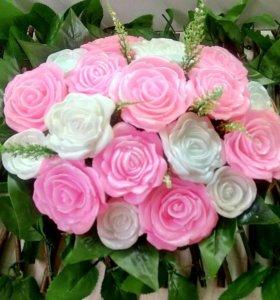 Букеты с розами из мыла