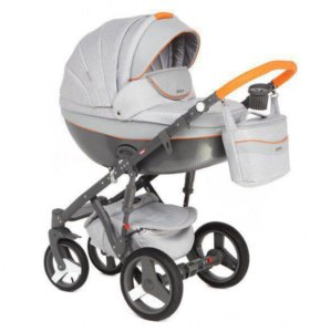 🍓Детская коляска Adamex Monte Carbon. Оранжевый
