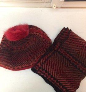 Шерстяные шапка-берет и шарф