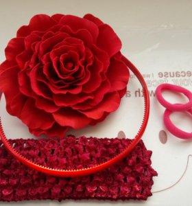 Ободки, резинки, заколки с цветами из фоамирана