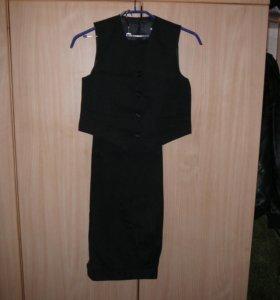 Школьный комплект брюки и жилет, р-р 34-140
