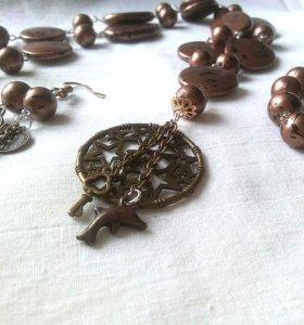 Набор бусы, браслет и серьги