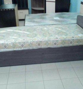 Кровать-6 с 2мя ящиками(с матрасом)