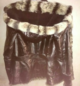 Кожанная теплая куртка
