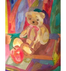 """Картина """"Мишка с яблоком"""""""
