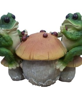 Садовая фигура Лягушки на грибе В-21 см ФП320