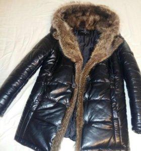 Куртка мужская зимняя. Эко кожа натуральный мех. р