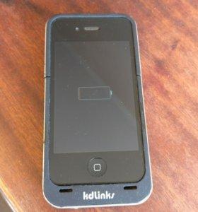 Внешний аккумулятор-чехол для iPhone 4