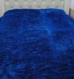 Синий плед травка