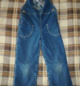 Полукомбинезон джинсовый на флисе