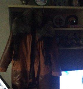 Куртка экокожа, с мехом чернобурки