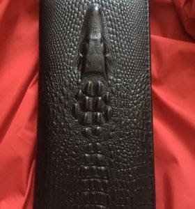 Портмоне крокодил, чёрное