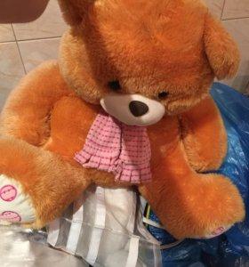 Мягкая игрушка большой рыжий медведь