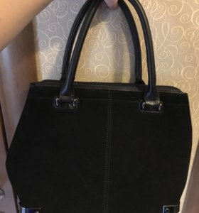 Чёрная кожаная с замшей сумка