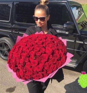 101 красная роза 60 см купить