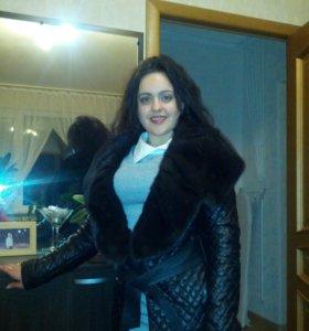 Кожанная курточка с мехом норки