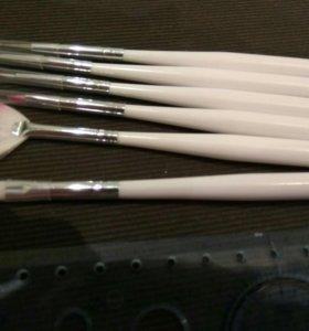 Набор кистей 6 шт для дизайна ногтей