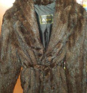 Пальто полушубок из вязаной норки
