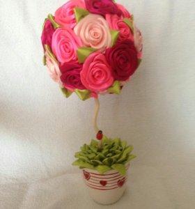 Топиарий, дерево счастья, цветок, букет.