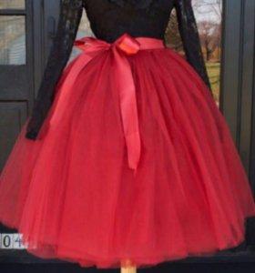 Красная юбка пачка с лентой