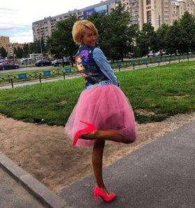Пыльно розовая юбка из Фатина