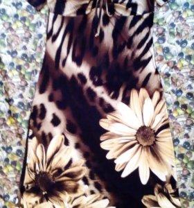 Платье р.48 макси, фотопринт