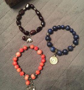 Комплект браслетов (натур. камни)
