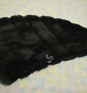 Меховая накидка на вечернее платье с брошью,балеро
