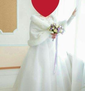 Свадебные платье, шубка и перчатки