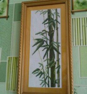 Картины ручной работы бамбук 2шт