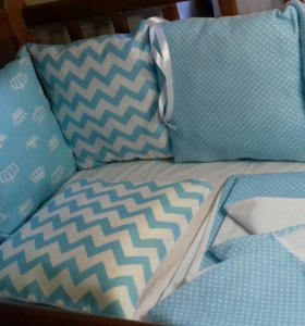 Бортики в кроватку с постельным бельем (готовое )