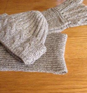 Вязаный комплект: шапка и шарф